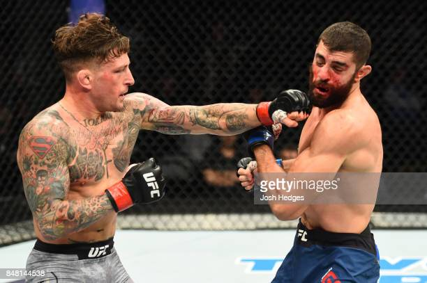 Gregor Gillespie punches Jason Gonzalez in their lightweight bout during the UFC Fight Night event inside the PPG Paints Arena on September 16 2017...