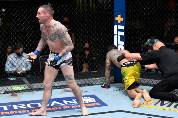 Gregor Gillespie reacts after his TKO victory over Diego Ferreira of Brazil in a lightweight fight during the UFC Fight Night event at UFC APEX on...