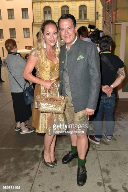 Gregor Glanz and his partner Daniela Hentze during the 70th anniversary celebration of the clothing company Angermaier at Deutsches Theatre on June 7...