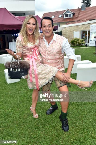 Gregor Glanz and his partner Daniela Hentze during the Ophelia Blaimer Wiesn couture celebration on September 13 2018 in Munich Germany