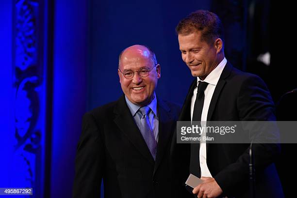 Gregor Gysi and Til Schweiger are seen on stage at the GQ Men of the year Award 2015 show at Komische Oper on November 5 2015 in Berlin Germany