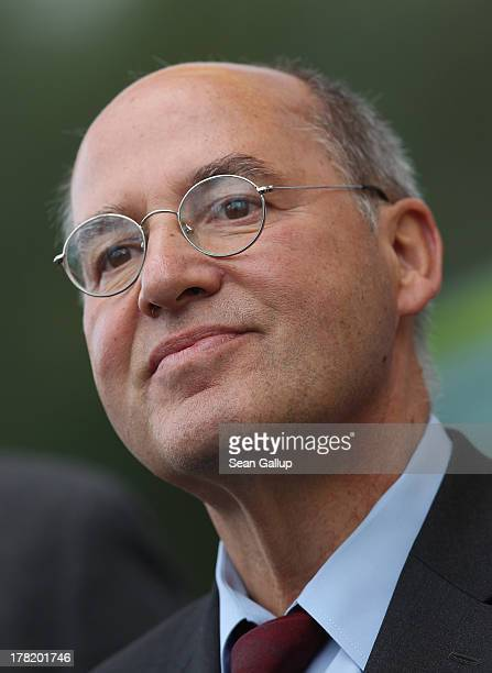 Gregor Gysi Chairman of the Bundestag faction of the German leftwing party Die Linke prepares to speak to supporters during an election campaign...