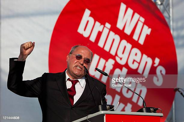 Gregor Gysi Chairman of the Bundestag faction of the leftwing political party Die Linke attends the opening campaign rally of Die Linke ahead of...