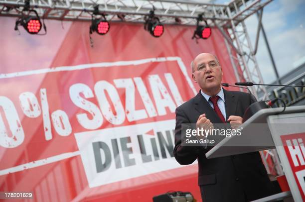 Gregor Gysi Chariman of the Bundestag faction of the German leftwing party Die Linke speaks to supporters during an election campaign event in...