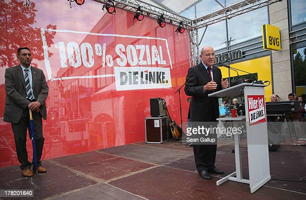Gregor Gysi, Chariman of the Bundestag faction of the German left-wing party Die Linke, speaks to supporters during an election campaign event in...