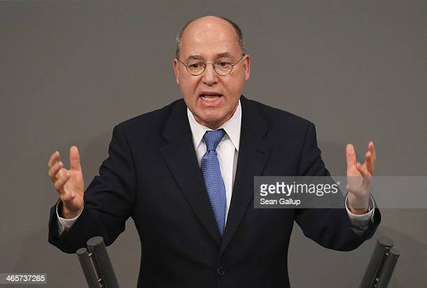 Gregor Gysi coleader of the Bundestag faction of Die Linke leftwing party speaks at the Bundestag during debates following a government declaration...