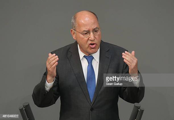 Gregor Gysi coleader of the Bundestag faction of the leftwing political party Die Linke speaks during debates prior to a vote over the third EU...