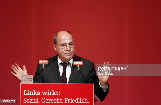 Gregor Gysi head of the Bundestag faction of the German leftwing party Die Linke speaks at the party's official new year gathering on January 11 2010...