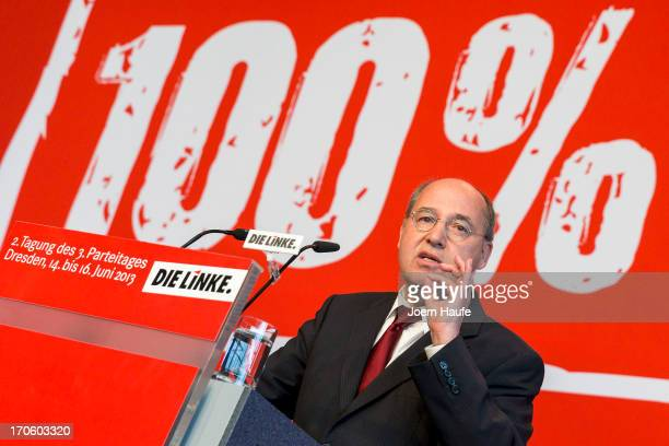 Gregor Gysi leader of the Die Linke Bundestag fraction speaks during the party's federal convention on June 15 2013 in Dresden Germany Die Linke...