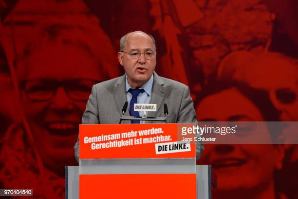Gregor Gysi Member of the Bundestag and Member of the Party 'Die Linke' speaks to the delegates at the Die Linke federal party congress on June 9...