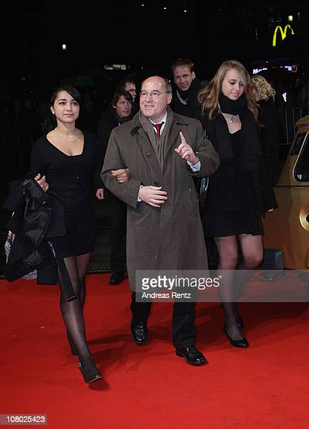 Gregor Gysi with his daughter Anna and her friend arrive for the 'Hinterm Horizont' musical premiere at Theater am Potsdamer Platz on January 13 2011...