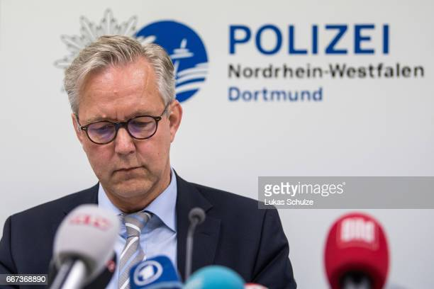 Gregor Lange chief of Police Dortmund speaks to the media during a press conference at the Police Headquarters Dortmund on April 11 2017 in Dortmund...