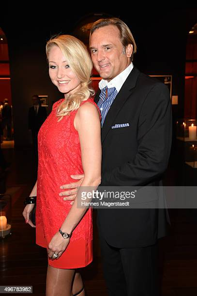 Gregor Leutgeb and his wife Victoria Leutgeb during the 'Marcel Ostertag Charity Fashion Show 2015' at Sofitel Munich Bayerpost on November 11 2015...