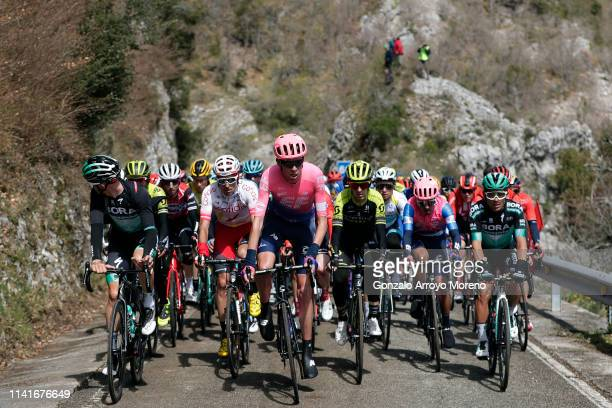 Gregor Mühlberger of Austria and Team Bora - Hansgrohe / Tsgabu Grmay of Ethiopia and Team Mitchelton - Scott / Luis Angel Mate of Spain and Team...
