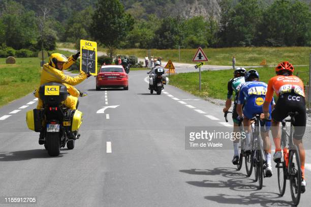 Gregor Mühlberger of Austria and Team Bora-Hansgrohe / Julian Alaphilippe of France and Team Deceuninck-QuickStep / Alessandro De Marchi of Italy and...