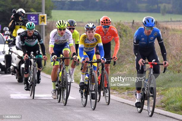 Gregor Muhlberger of Austria and Team Bora - Hansgrohe / Gijs Van Hoecke of Belgium and CCC Team / Samuele Battistella of Italy and NTT Pro Cycling...