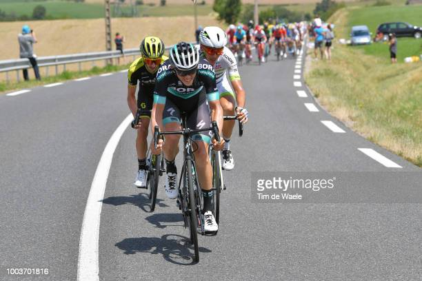 Gregor Muhlberger of Austria and Team Bora Hansgrohe / Warren Barguil of France and Team Fortuneo Samsic / Adam Yates of Great Britain and Team...