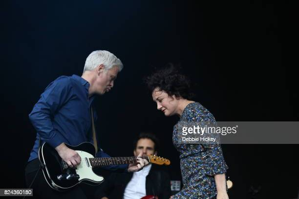 Gregor Philp and Lorraine McIntosh of Scottish pop rock band Deacon Blue performs on stage during Punchestown Music Festival at Punchestown...
