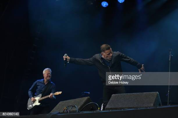 Gregor Philp and Ricky Ross of Scottish pop rock band Deacon Blue performs on stage during Punchestown Music Festival at Punchestown Racecourse on...