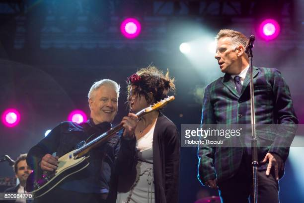 Gregor Philp Lorraine McIntosh and Ricky Ross of Scottish pop rock band Deacon Blue perform on stage at Edinburgh Castle on July 22 2017 in Edinburgh...