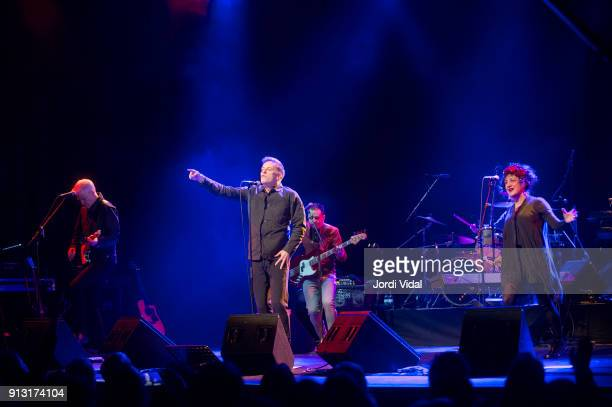 Gregor Philp Ricky Ross Lewis Gordon and Lorraine McIntosh of Scottish Band Deacon Blue perform on stage during Barcelona Guitar Festival at Sala...