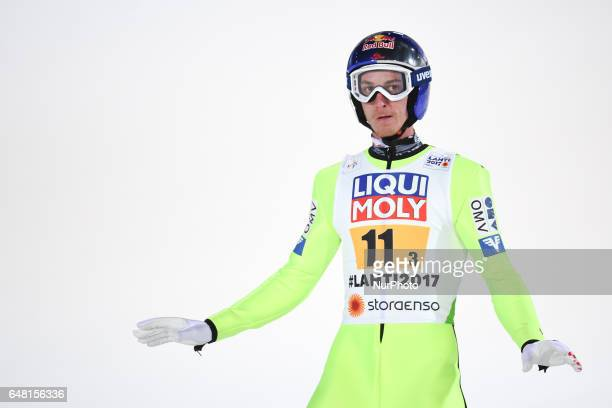 Gregor SCHLIERENZAUER from Germany during Men Large Hill Team final in ski jumping at FIS Nordic World Ski Championship 2017 in Lahti On Saturday...