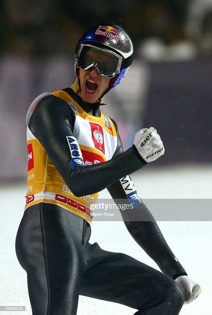 Gregor Schlierenzauer of Austria celebrates during the final round of the FIS Ski Jumping World Cup event at the 61st Four Hills ski jumping tournament at Paul-Ausserleitner-Schanzeon January 6, 2013 in Bischofshofen, Austria.
