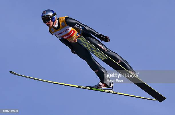 Gregor Schlierenzauer of Austria competes at the training round for the FIS Ski Jumping World Cup event of the 61th Four Hills ski jumping tournament...
