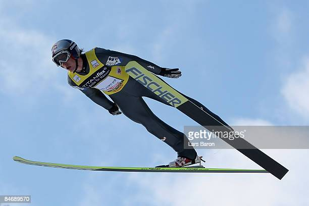 Gregor Schlierenzauer of Austria competes during day three of the FIS Ski Jumping World Cup at the Muehlenkopfschanze on February 8, 2009 in...