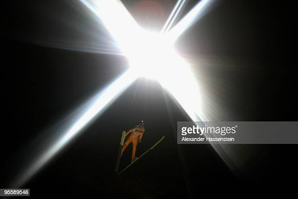 Gregor Schlierenzauer of Austria competes during qualification round for the FIS Ski Jumping World Cup event of the 58th Four Hills ski jumping...