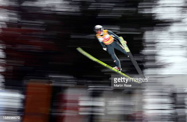 Gregor Schlierenzauer of Austria competes during the final round for the FIS Ski Jumping World Cup event of the 61st Four Hills ski jumping...