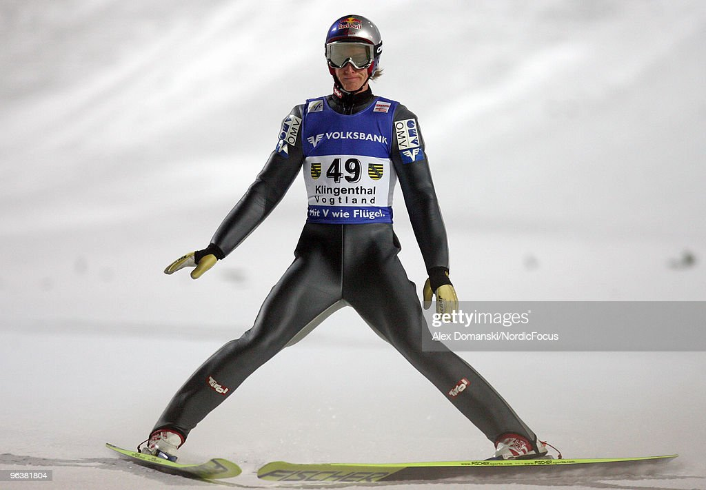Gregor Schlierenzauer of Austria competes during the FIS Ski Jumping World Cup on February 3, 2010 in Klingenthal, Germany.