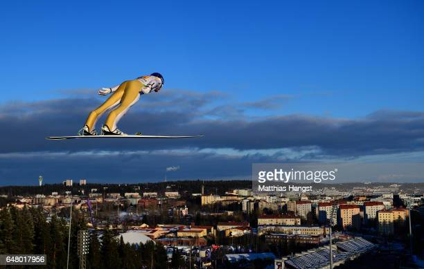 Gregor Schlierenzauer of Austria competes during the Men's Team Ski Jumping HS130 at the FIS Nordic World Ski Championships on March 4 2017 in Lahti...