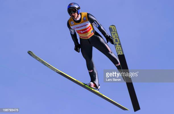 Gregor Schlierenzauer of Austria competes during the training round for the FIS Ski Jumping World Cup event of the 61th Four Hills ski jumping...