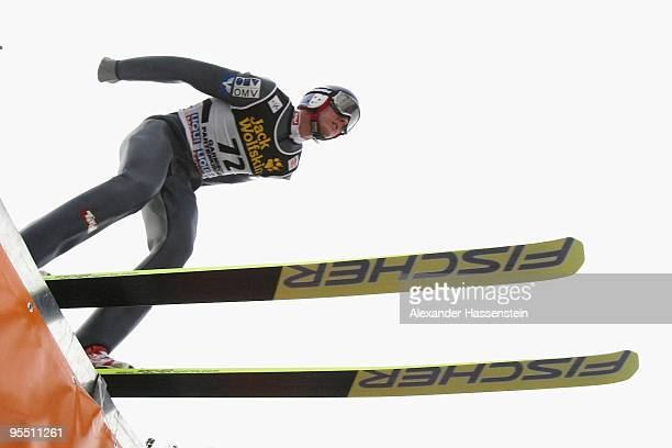 Gregor Schlierenzauer of Austria competes during the training round of the FIS Ski Jumping World Cup event of the 58th Four Hills ski jumping...