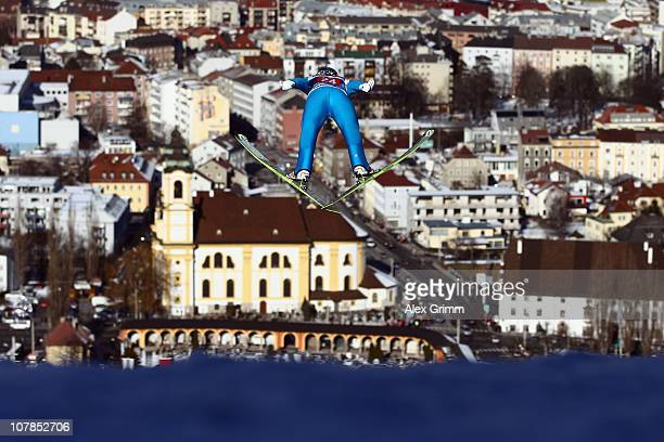 Gregor Schlierenzauer of Austria competes during the trial round for the FIS Ski Jumping World Cup event of the 59th Four Hills ski jumping...