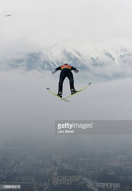 Gregor Schlierenzauer of Austria competes during the trial round for the FIS Ski Jumping World Cup event of the 61st Four Hills ski jumping...