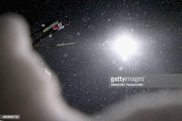 Gregor Schlierenzauer of Austria competes on day 2 of the Four Hills Tournament Ski Jumping event at SchattenbergSchanze Erdinger Arena on December...