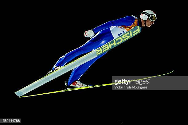 Gregor Schlierenzauer of Austria during the Men's Normal Hill Individual of the 2014 Sochi Olympic Winter Games at Russki Gorki Ski Juming Center on...
