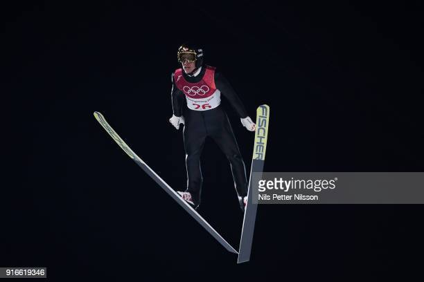 Gregor Schlierenzauer of Austria during the Mens Ski Jumping Normal Hill Individual on day one of the PyeongChang 2018 Winter Olympic Games at...