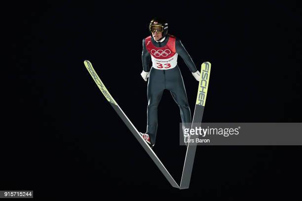 Gregor Schlierenzauer of Austria jumps during Men's Normal Hill Individual Trial Round for Qualification at Alpensia Ski Jumping Centre on February 8...