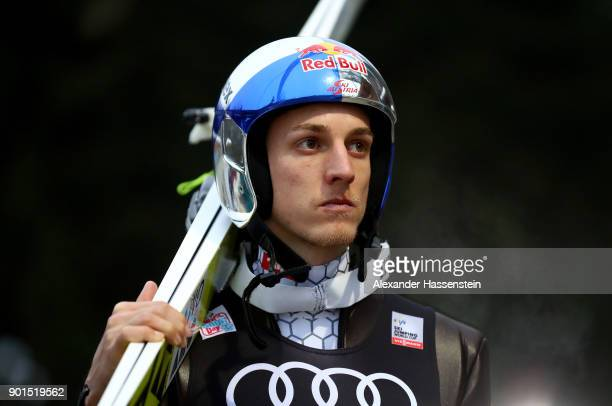 Gregor Schlierenzauer of Austria looks on before his practice jump of the FIS Nordic World Cup Four Hills Tournament on January 5 2018 in...