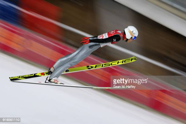 Gregor Schlierenzauer of Austria makes a jump during the Ski Jumping Men's Normal Hill Individual Final on day one of the PyeongChang 2018 Winter...