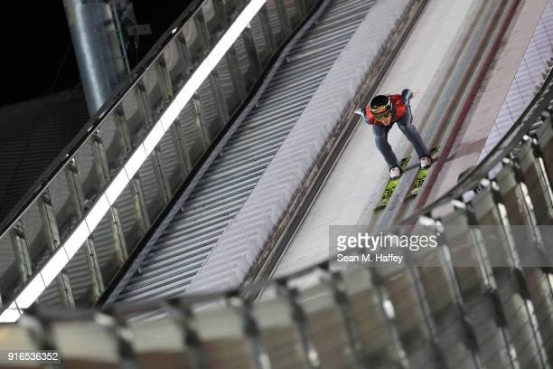 Gregor Schlierenzauer of Austria makes a trial jump during the Ski Jumping Men's Normal Hill Individual Final on day one of the PyeongChang 2018...