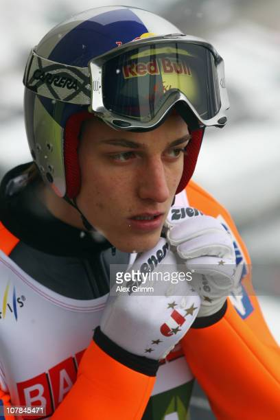 Gregor Schlierenzauer of Austria prepares before the training for the FIS Ski Jumping World Cup event of the 59th Four Hills ski jumping tournament...