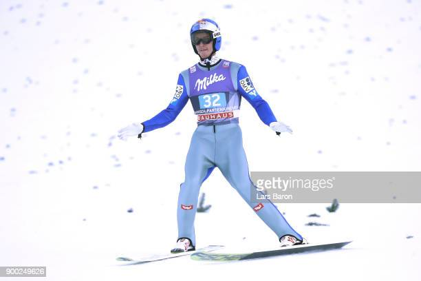 Gregor Schlierenzauer of Austria reacts after the final round on day 4 of the FIS Nordic World Cup Four Hills Tournament ski jumping event at...