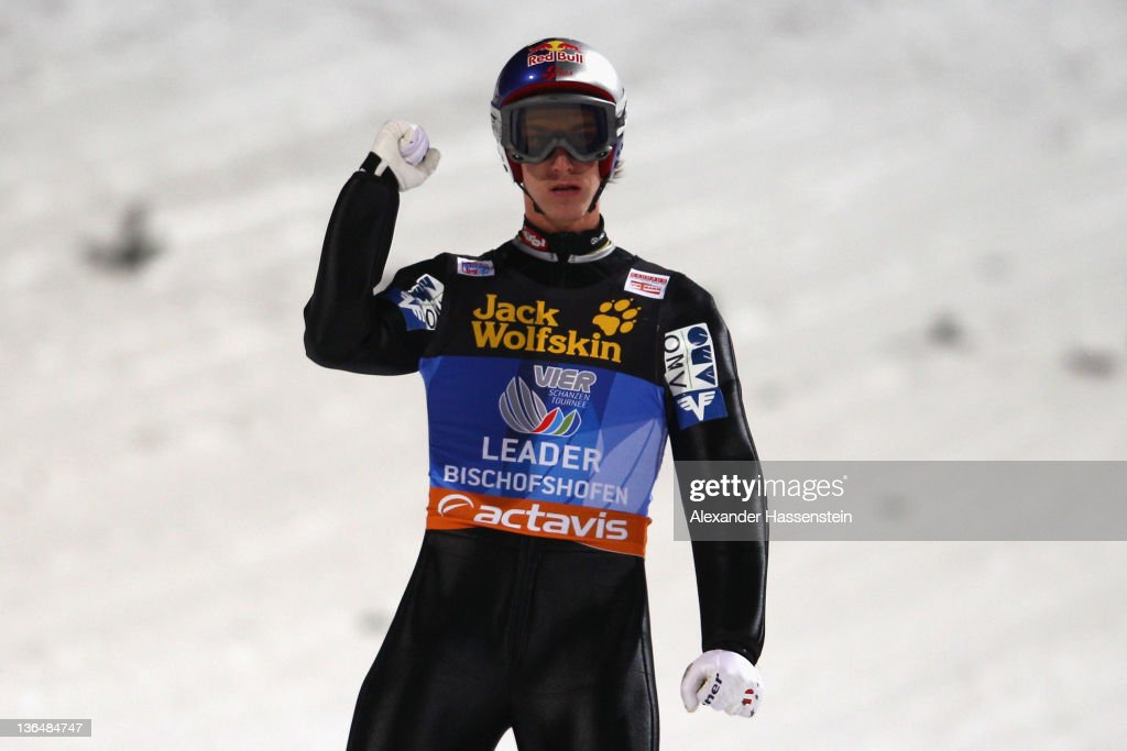 Gregor Schlierenzauer of Austria reacts during the first round of the FIS Ski Jumping World Cup event at the 60th Four Hills ski jumping tournament at Paul-Ausserleitner-Schanze on January 6, 2012 in Bischofshofen, Austria.