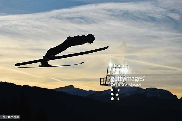 Gregor Schlierenzauer of Austria soars through the air during his competition jump on Day 2 of the 64th Four Hills Tournament event on December 29...