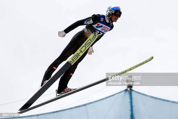 Gregor Schlierenzauer of Austria soars through the air during his practice jump on day one of the Innsbruck 65th Four Hills Tournament on January 3...
