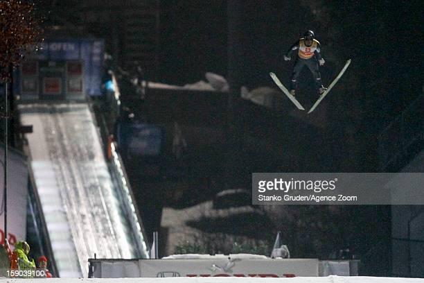 Gregor Schlierenzauer of Austria takes 1st place during the FIS Ski Jumping World Cup Vierschanzentournee on January 06 2013 in Bischofshofen Austria